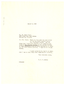Letter from W. E. B. Du Bois to St. Clair Drake