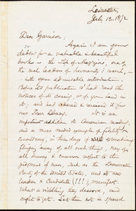 Letter from Samuel May, Jr., Leicester, [Mass.], to William Lloyd Garrison, July 12. 1872