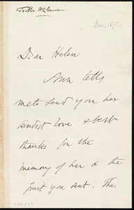 Letter from Wendell Phillips, to Helen Eliza Garrison, [December 1875]