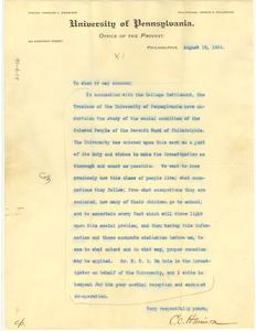 Letter from University of Pennsylvania to W. E. B. Du Bois