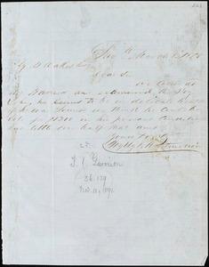 Wylly & Montmollin, Savannah, Ga., manuscript letter signed to Ziba B. Oakes, 8 March 1855