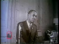 WSB-TV newsfilm clip of Roy Wilkins, executive secretary of the National Association for the Advancement of Colored People, clarifying the history of sit-ins as a direct action tactic at a press conference, 1960