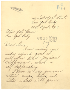 Letter from James William Johnson to the editor of The Crisis