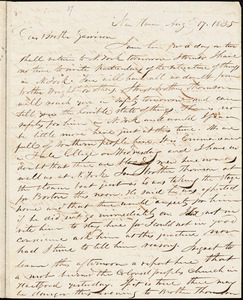Letter from Simeon Smith Jocelyn, New Haven, [Connecticut], to William Lloyd Garrison, 1835 Aug[u]st 17