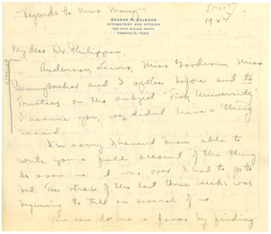 Letter from George Streator to A. D. Philippse