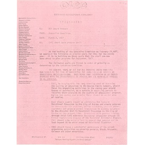 CWEC short term program goals, March 2, 1977.