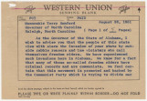 Telegram from Governor John Patterson to Governor Terry Sanford in Raleigh, North Carolina.
