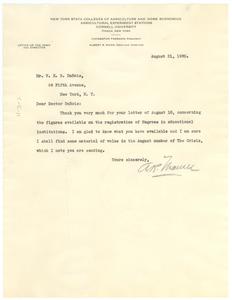 Letter from Albert R. Mann to W. E. B. Du Bois