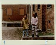 Cortez Gibbs, 3, and Brittanty McMullen, 4, Outside Thier Apartments in Techwood Homes, December 12, 1992