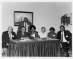 Miscellaneous YMCA secretaries and staff group photo. Front row (left to right): Bill McAllister, ?, Anita Joseph, ?, Janice Williams, ?. c. 1980s.