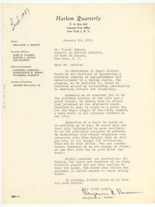 Letter from Harlem Quarterly to W. E. B. Du Bois