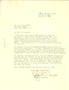 Letter from Edgar W. Barrier to W. E. B. Du Bois