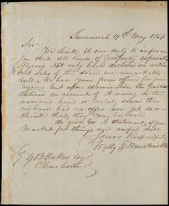 Thumbnail for Wylly & Montmollin, Savannah, Ga., manuscript letter signed to Ziba B. Oakes, 19 May 1854