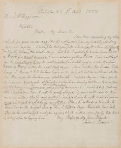 John Brown autograph letter signed to Thomas Wentworth Higginson, Rochester, N.Y., 2 February 1858