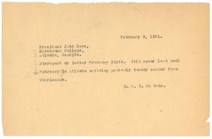 Telegram from W. E. B. Du Bois to Atlanta University