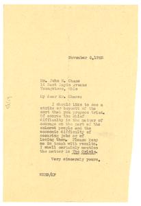 Letter from W. E. B. Du Bois to John Chase