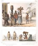 Le collier de fer, châtiment des fugitifs [above]; Nègres en commission, par un temps de pluie; Transport de tuiles [below]