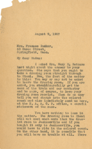 Letter from W. E. B. Du Bois to Frances Tucker
