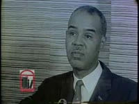 WSB-TV newsfilm clip of NAACP executive director Roy Wilkins speaking to reporters at a press conference before the NAACP annual convention held in Atlanta, Georgia, 1962 July 1