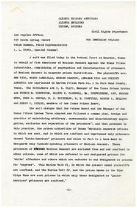 Affidavit from Alianza Hispano Americana, Civil Rights Department
