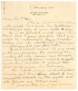 Letter from Lillian Alexander to W. E. B. Du Bois