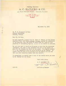 Letter from A.C. McClurg & Co. to W. E. B. Du Bois