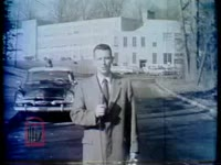 WSB-TV newsfilm clip of reporter Neal Strozier commenting on a public address by Virgina governor J. Lindsay Almond in Richmond, Virginia and on the recent integration of the previously all-white schools in Arlington County and Norfolk, Virginia, 1959 February 7