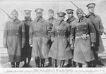 Officers of the 370th (old Illinois 8th Regiment); 2nd-Lieut. Lawson Price, 2nd-Lieut. L.W. Stearis, 2nd-Lieut. Ed. White, 2nd-Lieut. Eliasa F. E. Williams, 1st-Lieut. Oaso Browning, Capt. Louis B. Johnson, 1st-Lieut. Frank Bates and 1st-Lieut. Binga Desmond