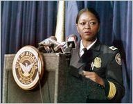 Atlanta Police Chief Beverly Harvard addressing journalists over officer misconduct, 1994