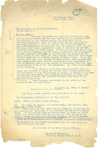 Letter from Secretary of War to Charles S. Darden