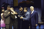 """Actors (L-R) Anne Bobby, Brian Murray, Nancy Marchand, Robert Stattel, Peter MacNicol and Keene Curtis in a scene from the Roundabout Theater Co.'s production of the play """"Black Comedy """" (New York)"""