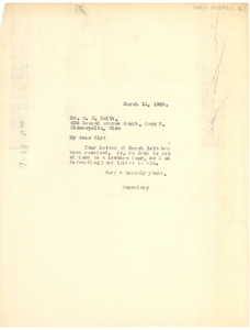 Letter from unidentified correspondent to NAACP Minneapolis Branch