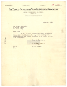Letter from National Council of the Y.M.C.A. to Crisis
