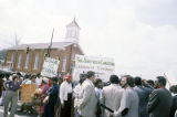 Demonstrators protesting President Ronald Reagan's visit to the state legislature in Montgomery, Alabama.