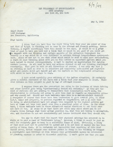 Letter from A. J. Muste to Caleb Foote