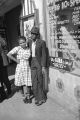 Young African American couple on the standing outside a restaurant in Montgomery, Alabama.