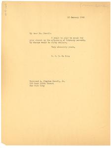 Letter from W. E. B. Du Bois to Abyssinian Baptist Church