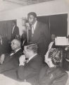 Jackie Robinson at the microphone at an award banquet at White Rock Baptist Church