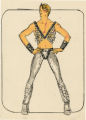 Costume design drawing, male dancer in silver tights and vest, Las Vegas, June 5, 1980
