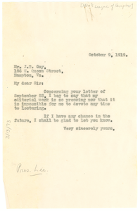 Letter from W. E. B. Du Bois to Men's League of Hampton