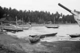 Philippines, fishing boats at waterfront in Dumaguete