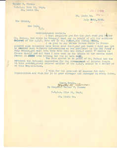 Letter from Walker W. Thomas to Crisis