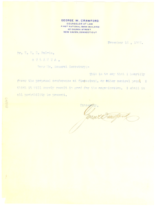 Letter from George W. Crawford to W. E. B. Du Bois