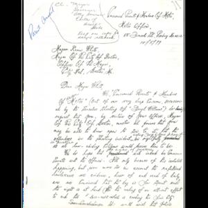 Letter, Mayor Kevin White, October 2, 1979.