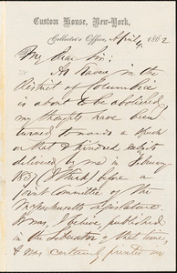 Letter from Henry Brewster Stanton, [New York, New York], to William Lloyd Garrison, 1862 April 4