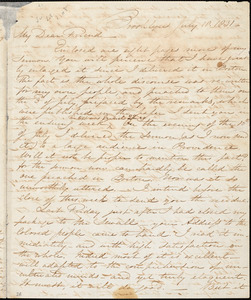 Thumbnail for Letter from Samuel Joseph May, Brooklyn, [Connecticut], to William Lloyd Garrison, 1831 July 18