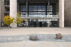 Entrance to the National Underground Railroad Freedom Center in Cincinnati, Ohio