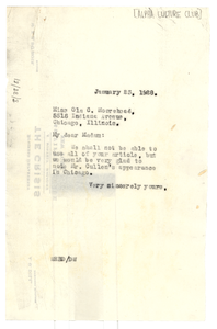 Letter from W. E. B. Du Bois to Alpha Culture Club