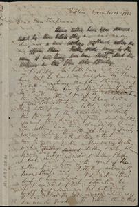 Letter from Richard Davis Webb, Dublin, [Ireland], to Maria Weston Chapman, November 15, 1854