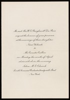 Invitation to wedding of Countee Cullen and Nina Yolande Du Bois